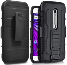 For Motorola Moto G3 (3rd Gen) Shockproof Armor Back Case Cover with belt clip