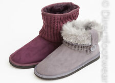 Ladies Coolers Ankle Boot Slippers Faux Suede Furry Lined Knitted Leg