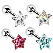 Dome Star Gem Barbell Tongue Ring Barbell 14G Assorted Colors Piercing Jewelry