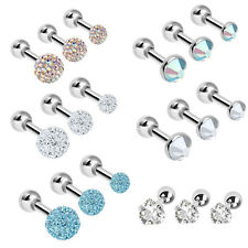 Set of 3 16G Heart Round Crystal Gem Cartilage Tragus Barbell Earring Piercing