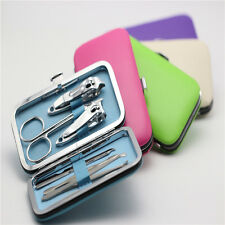 Fashion 7pcs Manicure Set Nail Care Clippers Scissors Travel Grooming Kits Case