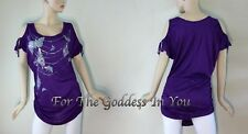 T25 SEXY PURPLE OPEN SHOULDER FOIL PRINT KNIT TOP JUNIOR PLUS SIZE 1X 2X 3X