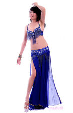 Perform Belly Dance Costume 3Pics Bra&Belt&Skirt 32-34B/C 36B/C 38B/C 10 Colors