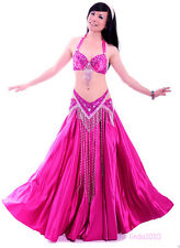 New Performance Belly Dance Costume 3 Pics Bra&Belt&Skirt 34B/C 36B/C 10 Colors