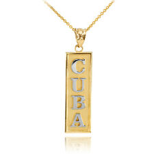Two Tone 14k Solid Yellow / White Gold Gold CUBA Pendant Necklace