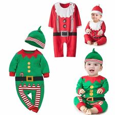 Baby Boy Girl Xmas Santa Claus Costume Outfit Clothes+Hat Gift Set Size 00 0 1 2