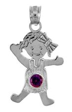 White Gold February Birthstone Purple Amethyst Round CZ Baby Girl Charm Pendant