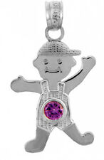 White Gold February Birthstone Purple Amethyst Round CZ Baby Boy Charm Pendant