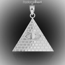 White Gold Egyptian Pyramid with All-Seeing Eye Pendant USA Dollar Bill