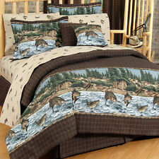 River Fishing Comforter Set all sizes with or without Matching Sheets 4 sizes