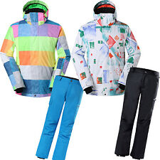 GSOU SNOW Mens Ski Suits Snowboard Hooded Jacket Coat + Skiing Pants Trousers