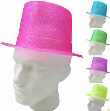 FLURO GLITTER TOP HAT Fancy Party Plastic Costume Tall Cap Fun Dress Up New