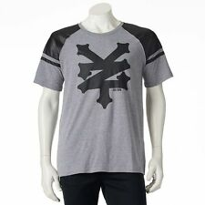 Zoo York Mens Advanced Faux Leather T-Shirt Gray Black Crew Neck NYC Skate NEW