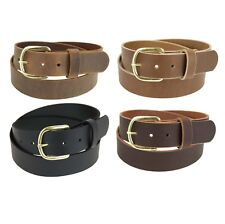 "Genuine Buffalo Leather Belt_1 1/2"" wide_Amish Handmade_Brass Finish Buckle_141"