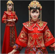 Chinese Cheongsam Wedding Dress Red Bride Dresses dragon small Impatiens gown
