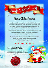 Personalised Good List Letter/Certificate from Father Christmas Santa A4