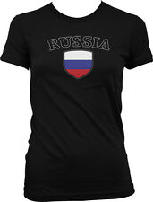 Russia Flag Crest Russian Ruskie National Soccer Football Pride Juniors T-shirt