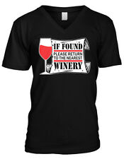 If Found Please Return To The Nearest Winery Funny Vino Wine Mens V-neck T-shirt
