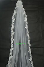 New Stock Handmade White/Ivory Wedding Bridal Long Veil Cathedral With Comb