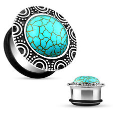 PAIR Turquoise Brass Top Surgical Steel Single Flare Plugs Body Jewelry