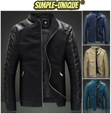 Mens Casual Slim-fit Bomber Spliced Cotton Synthetic Leather Jacket Blazer (645)