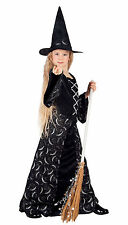 GIRLS LONG BLACK MOON WITCH COSTUME FANCY DRESS HALLOWEEN OUTFIT & HAT NEW