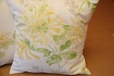 TWO LAURA ASHLEY HANDMADE REVERSIBLE CUSHIONS IN HONEYSUCKLE TRAIL CAMOMILE