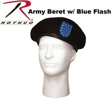 Army G.I. Type Black Wool Beret Military Style Wool Beret With Blue Flash 4918 #