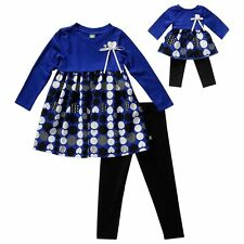 Dollie & Me Girl 5-14 and Doll Matching Blue Dress Legging Outfit American Girl