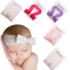 Kids Baby Girl Toddler Chic Lace Pearl Bow Crystal Headband HairBand Headwear