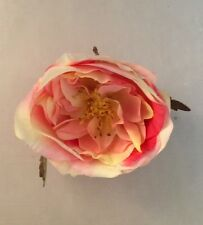 SMALL CABBAGE ROSE ARTIFICIAL FLOWER HAIR CLIP/PIN BROOCH