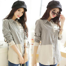 Women T-Shirt Check Plaid Collared Button Pocket Long Sleeve Leisure Blouses Top