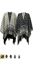 Ladies Stylish Knitted Poncho Shawl Cape Wrap Cardigan in a Lot Aztec Designs