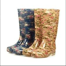 Free shipping womens floral print rain boots high rubber Waterproof snow boots