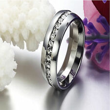 Unisex Rhinestone Stainless Steel Ring Gold &Sliver Plated Wedding Rings Fashion