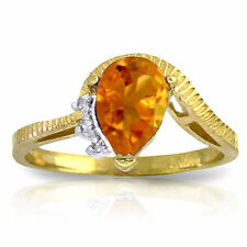 Genuine Citrine  Pear Cut Gemstone & Diamonds Ring 14K. Yellow, White, Rose Gold