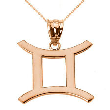Fine 10k Rose Gold Gemini June Zodiac Sign Horoscope Pendant Necklace