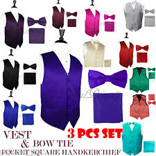 MEN SOLID Design Dress VEST and Pre-Tied BOW TIE & HANKIE SET For Suit or Tuxedo
