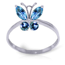 Genuine Blue Topaz Gemstones Butterfly Ring in 14K. Yellow or White or Rose Gold