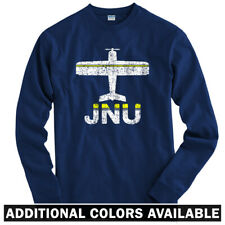 Fly Juneau JNU Airport Long Sleeve T-shirt LS - Alaska Plane Pilot - Men / Youth