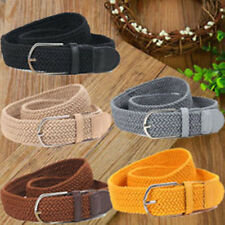 Lady Men Plaited Elastic Plain Webbing Metal Buckle Woven Stretch Belt Waistband