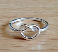 925 Sterling Silver Love Knot Heart Plain Stacking Ring Band- US Size 6,7,8,9