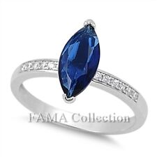 FAMA 925 Sterling Silver Dress Ring Marquise Blue Sapphire w/ Paved CZ Size 5-8