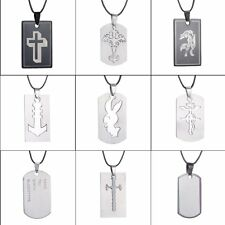 New Gift Stainless Steel Cool Unisex's Men Silver Cross Leather Pendant Necklace