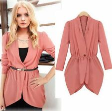 Fashion Womens Ladies Casual Long Sleeve One Button Slim Blazer Jacket Coat Tops