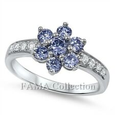 FAMA 925 Sterling Silver Dress Ring Tanzanite Flower w/ Side CZ Stones Size 5-7