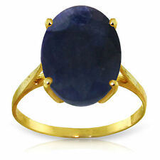 Genuine Sapphire Oval Cut Gemstone Solitaire Ring 14K Yellow, White or Rose Gold