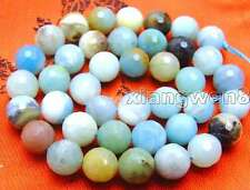 "SALE  10mm faceted Round Blue natural Amazonite gemstone beads strand 15""-los543"