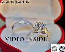 """LADY*H&H 3Pcs Wedding Ring Set Engagement Ring Platinum F.925 Silver Italy"