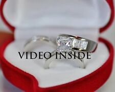 """LADY*His/Hers Engagement Ring Wedding Band Set Platinum F.925 Silver Italy"